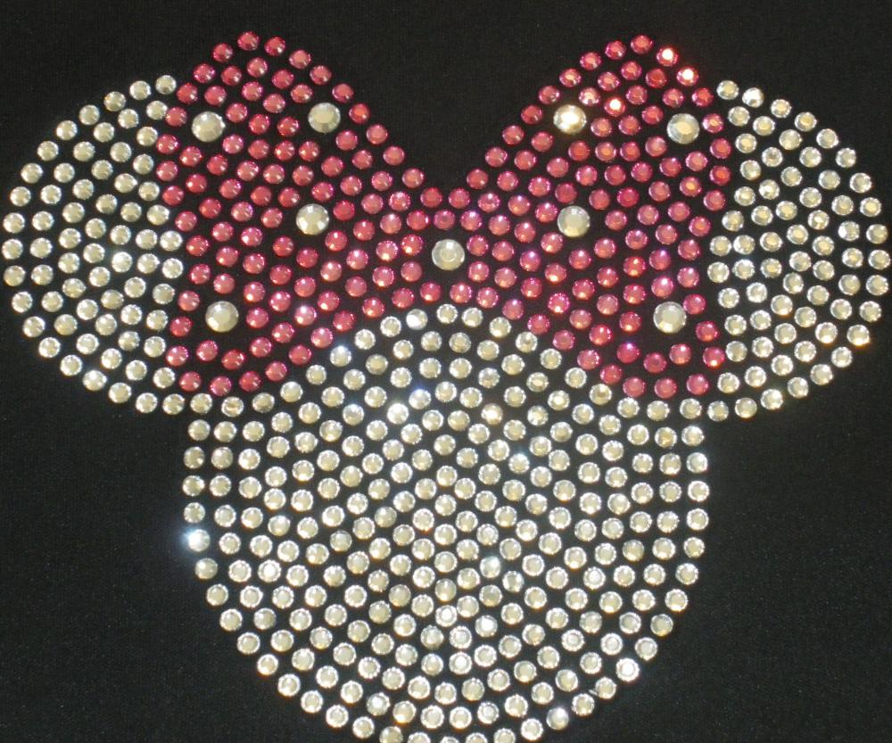 6.5&quot; clear pink Minnie Mouse iron on rhinestone transfer for Disney t-shirt