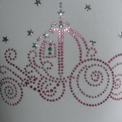 "7.5"" pink Cinderella carriage rhinestone iron on transfer"