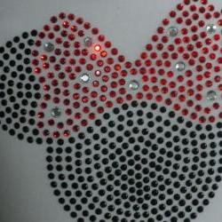 5&quot; red Minnie Mouse rhinestone iron on transfer for Disney t-shirt